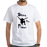 """""""Sk8 the Planet"""" White T-Shirt"""