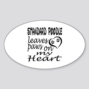 Standard Poodle Dog Leaves Paws on Sticker (Oval)