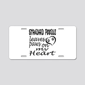 Standard Poodle Dog Leaves Aluminum License Plate