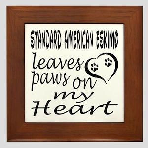Standard American Eskimo Leaves Paws o Framed Tile