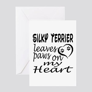 Silky Terrier Dog Leaves Paws on My Greeting Card