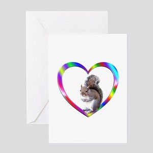 Squirrel In Colorful Heart Greeting Card