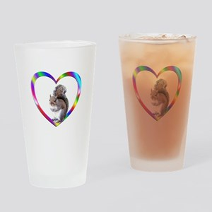 Squirrel In Colorful Heart Drinking Glass