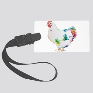 Colorful Hen by Deja Wolfe Large Luggage Tag