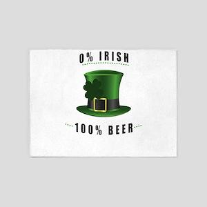 St Patricks Day 0% Irish 100% Beer 5'x7'Area Rug
