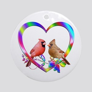 Cardinal Couple In Colorful Heart Round Ornament
