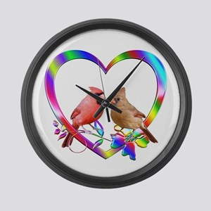 Cardinal Couple In Colorful Heart Large Wall Clock