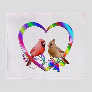 Cardinal Couple In Colorful Heart Throw Blanket