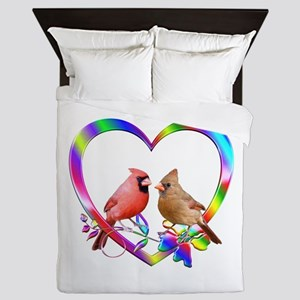 Cardinal Couple In Colorful Heart Queen Duvet