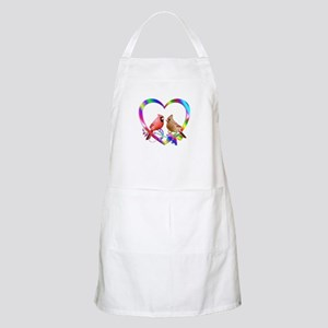 Cardinal Couple In Colorful Heart Light Apron
