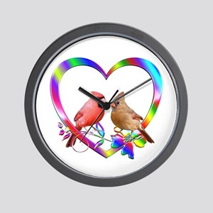 Cardinal Couple In Colorful Heart Wall Clock