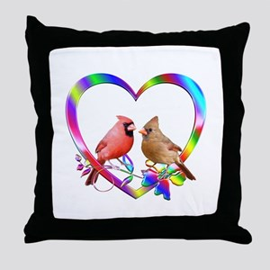 Cardinal Couple In Colorful Heart Throw Pillow