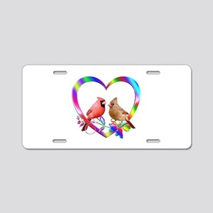 Cardinal Couple In Colorful Aluminum License Plate