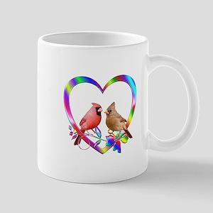 Cardinal Couple In Colorful Hear 11 oz Ceramic Mug