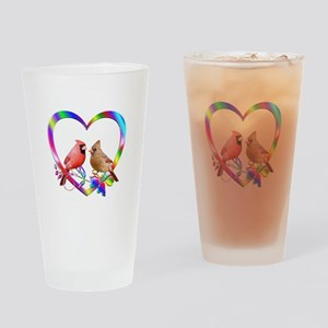 Cardinal Couple In Colorful Heart Drinking Glass