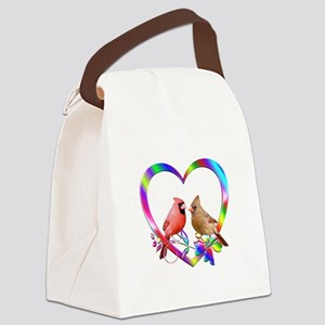Cardinal Couple In Colorful Heart Canvas Lunch Bag