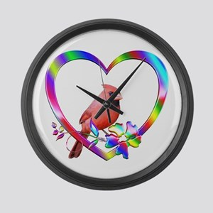 Northern Cardinal In Colorful Hea Large Wall Clock