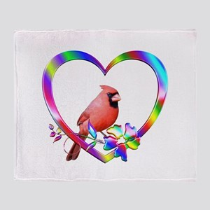 Northern Cardinal In Colorful Heart Throw Blanket