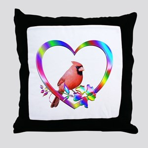 Northern Cardinal In Colorful Heart Throw Pillow
