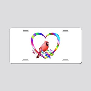 Northern Cardinal In Colorf Aluminum License Plate