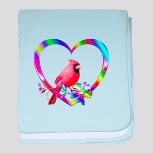 Northern Cardinal In Colorful Heart baby blanket
