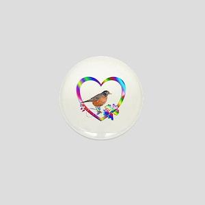 Robin In Colorful Heart Mini Button