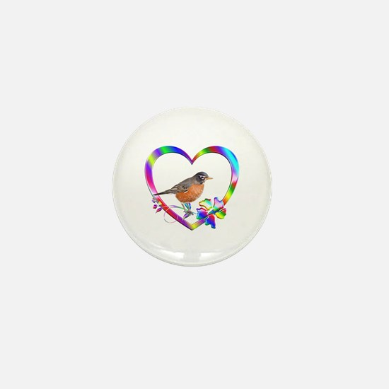 Robin In Colorful Heart Mini Button