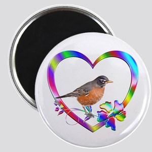 Robin In Colorful Heart Magnet