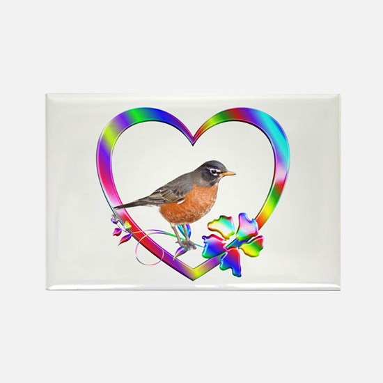 Robin In Colorful Heart Rectangle Magnet