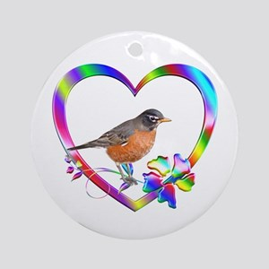 Robin In Colorful Heart Round Ornament