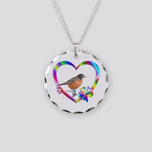 Robin In Colorful Heart Necklace Circle Charm