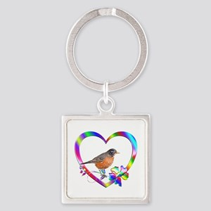 Robin In Colorful Heart Square Keychain