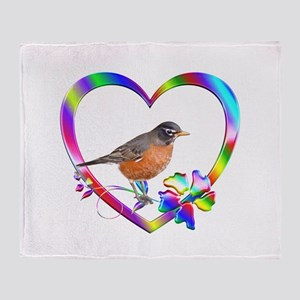 Robin In Colorful Heart Throw Blanket