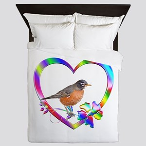 Robin In Colorful Heart Queen Duvet