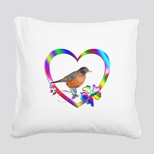 Robin In Colorful Heart Square Canvas Pillow