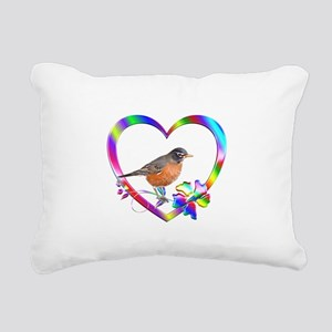 Robin In Colorful Heart Rectangular Canvas Pillow