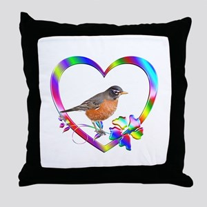 Robin In Colorful Heart Throw Pillow