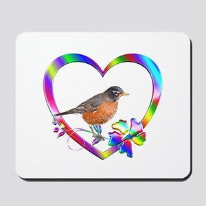 Robin In Colorful Heart Mousepad