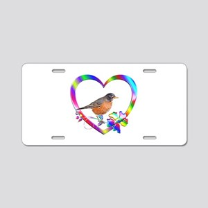 Robin In Colorful Heart Aluminum License Plate