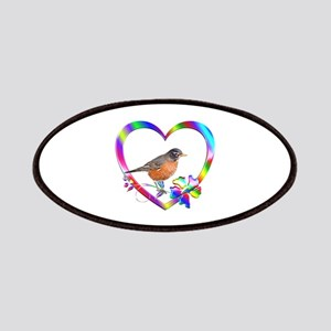 Robin In Colorful Heart Patch