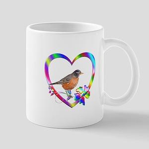 Robin In Colorful Heart 11 oz Ceramic Mug