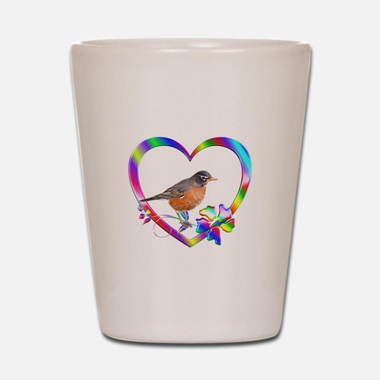 Robin In Colorful Heart Shot Glass