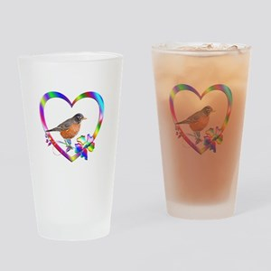 Robin In Colorful Heart Drinking Glass