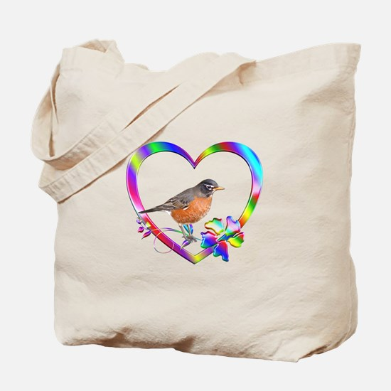 Robin In Colorful Heart Tote Bag