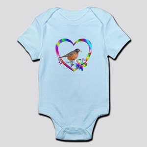 Robin In Colorful Heart Baby Light Bodysuit
