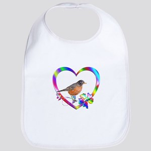 Robin In Colorful Heart Cotton Baby Bib