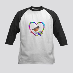 Robin In Colorful Heart Kids Baseball Tee