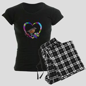 Robin In Colorful Heart Women's Dark Pajamas