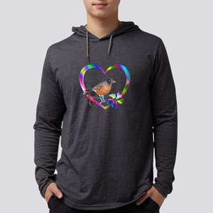 Robin In Colorful Heart Mens Hooded Shirt