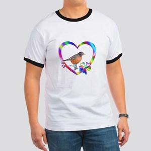 Robin In Colorful Heart Ringer T